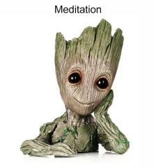 Meditation tree man flowers pot doll model desk ornament gift toy