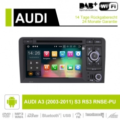 7 Inch Android 9.0 Car Radio / Multimedia 2GB RAM 16GB ROM For AUDI A3 (2003-2011) S3 RS3 RNSE-PU