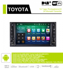 7 Inch Android 9.0 Car Radio / Multimedia 2GB RAM 16GB ROM For Toyota Corolla Vios Land Cruiser Avanza Prado