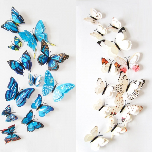 12pcs  Stickers 3D Butterfly Colorful Double Layers Wall Stickers Art Decoration