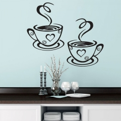 Double Coffee Mugs Wall Stickers Beautiful Design Tea Cups Room Decoration