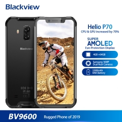 "Blackview 2019 New BV9600 Waterproof Mobile Phone Helio P70 Android 9.0 4GB + 64GB 6.21 ""19: 9 AMOLED 5580mAh Rugged Smartphone Gray"