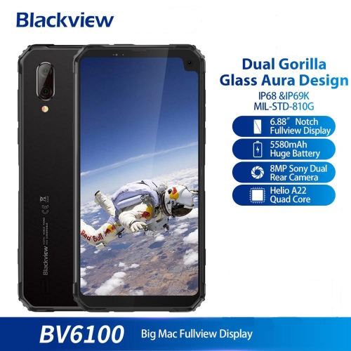 "Blackview BV6100 IP68 Waterproof Mobile Phone 3GB + 16GB Android 9.0 Outdoor Mobile Phone 6.88 ""Screen 5580 mAh Robust smartphone"