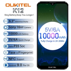 "OUKITEL K12 Android 9.0 Cell Phone 6.3 ""19.5: 9 MTK6765 6G RAM 64G ROM NFC 10000mAh 5V / 6A Quick Charge Fingerprint Smartphone"