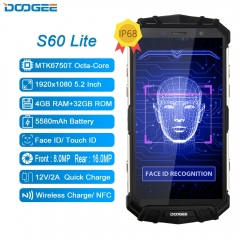 IP68 Wasser DOOGEE S60 Lite Drahtlose Lade 5580mAh 12V2A Quick Charge 5,2 ''FHD MT6750T Octa Core 4GB 32GB Smartphone 16.0MP Cam