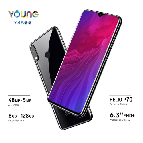 "OUKITEL Y4800 6.3 ""19.5: 9 FHD + Android 9.0 Cell Phone Octa Core 6G RAM 128G ROM Fingerprint 4000mAh 9V / 2A Face ID Smartphone"