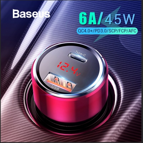 Baseus 45W Quick Charge 4.0 3.0 USB Car Charger Upgrade SCP QC4.0 QC3.0 Fast PD USB C Car Phone Charger