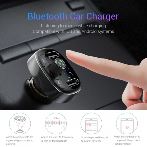 Baseus Car Charger FM Transmitter Aux Modulator Bluetooth Car Audio MP3 Player 3.4A Fast Dual USB Mobile Phone Charger