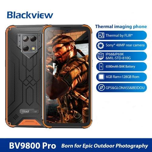 Blackview BV9800 Pro Rugged Handy 6GB + 128GB thermal image and fingerprint identification 6.3 inches, Android 9.0 Pie Helio P70 Octa Core up to 2.3GH