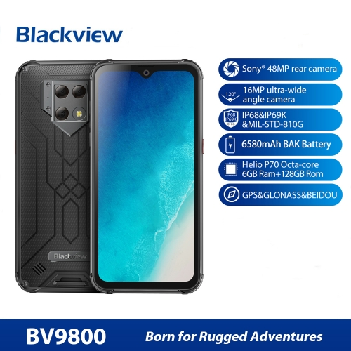 "Blackview BV9800 6GB 128GB IP68 Smartphone 6,3 ""FHD-Wassertropfen Helio P70 Octa Core Android 9.0 NFC Handy 6580 mAh"