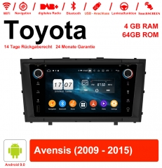 7 inch Android 9.0 car radio / multimedia 4GB RAM 64GB ROM for Toyota Avensis 2009 - 2015 with WiFi NAVI Bluetooth USB