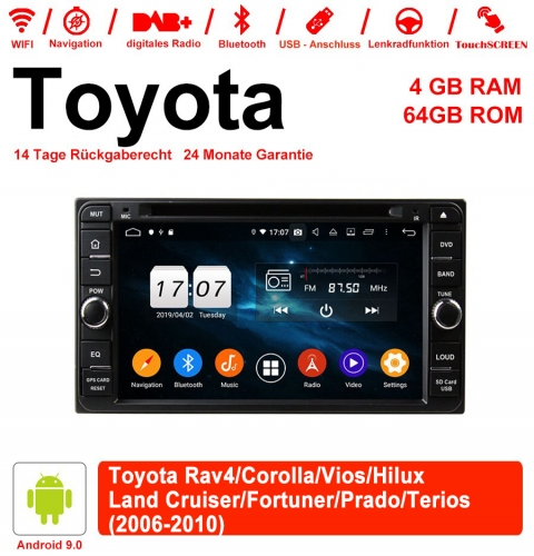 6.95 inch Android 9.0 car radio / multimedia 4GB RAM 64GB ROM for Toyota Vios Hilux Land Cruiser 2006-2010 with WiFi NAVI Bluetooth USB