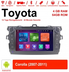 8 inch Android 9.0 car radio / multimedia 4GB RAM 64GB ROM for Toyota Corolla 2007-2011 with WiFi NAVI Bluetooth USB