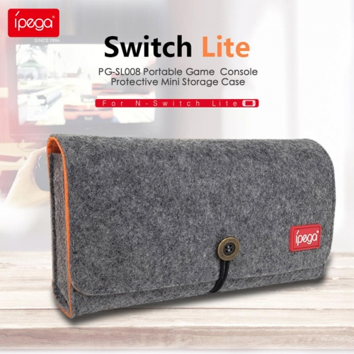 ipega PG-SL008 Switch Lite Host Small gray wolf storage bag with playing card slot Double storage bag for Switch Lite