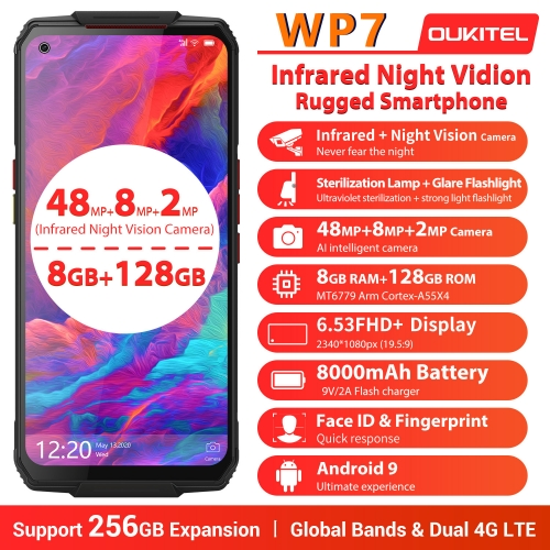 OUKITEL WP7 IP68 Helio P90 8GB 128GB Smartphone 8000mAh Battery 48MP Triple Camera 6.53 '' robust, waterproof cell phone