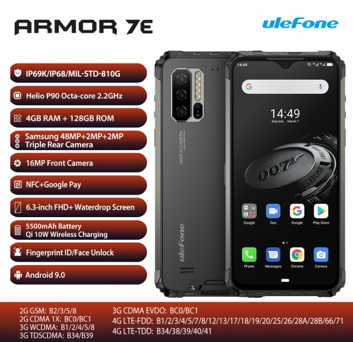 Ulefone Armor 7E Robust mobile phone Helio P90 4GB + 128GB smartphone 2.4G / 5G WiFi waterproof IP68 Android 9.0 NFC / 48MP