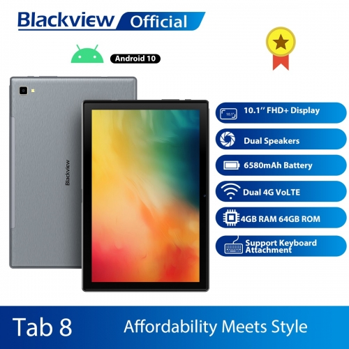 Blackview Tab 8 Tablet Android 10 Octa Core 10.1 inch 4 GB RAM 64 GB ROM 13 MP rear camera 1200 * 1920 FHD IPS Dual SIM 4G LTE