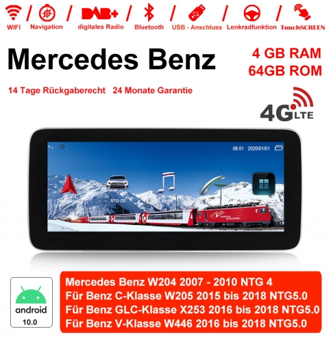10.25 inch MTK8783 8Core Android 10.0 4G LTE car radio/ multimedia 4GB 64GB For Mercedes Benz C GLC V Class 2015 - 2018 with WiFi NAVI Bluetooth