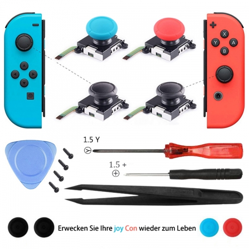 3D Analog Joycon Joystick Thumb Sticks Sensor Replacements Accessories For Nintend Switch Joy Con Controller Housing w/ Tool Kit