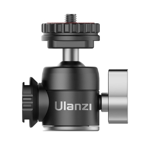 Ulanzi U-60 Full Metal Mini Ballhead with Dual Cold Shoes Extension Microphone