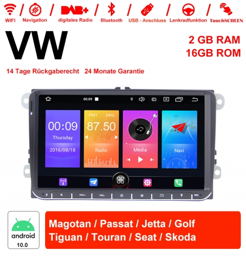 9 Inch Android 10.0 Car Radio/Multimedia 2GB RAM 16GB ROM For VW Magotan, Passat, Jetta, Golf, Tiguan, Touran, Seat, Skoda With WiFi NAVI Bluetooth