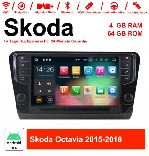 9 inch Android 10.0 car radio / multimedia 4GB RAM 64GB ROM for Skoda Octavia 2015-2018 with NAVI, WIFI, Bluetooth ...
