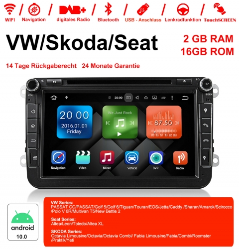 8 Inch Android 10.0 Car Radio / Multimedia 2GB RAM 16GB ROM For VW JETTA Tiguan Passat B6 Touran Caddy Amarok Golf